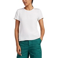 Lisa Perry Dot Embroidered Crepe T Shirt White