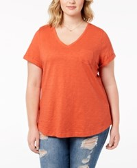 Styleandco. Style Co Plus Size V Neck T Shirt Created For Macy's Smoked Salmon