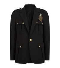 Balmain Embellished Badge Jersey Blazer Male Black
