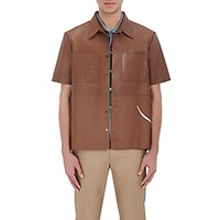 Valentino Men's Orchid Appliqued Leather Shirt Tan