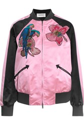 Valentino Appliqued Silk Satin Bomber Jacket Pink
