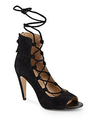 Saks Fifth Avenue Naylee Lace Up Suede Sandals Black