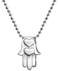 Alex Woo Little Faith Hamsa Hand Pendant In Sterling Silver