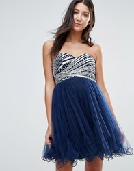 Little Mistress Bandeau Prom Dress With Sequin Body Navy