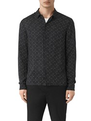 Allsaints Needles Long Sleeve Slim Shirt Jet Black