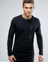 Asos Longline Muscle Long Sleeve T Shirt With Text Print And Curve Hem Black