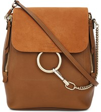 Chloe Faye Leather And Suede Backpack Tan Tobacco