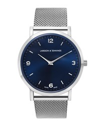 Larsson And Jennings Lugano 38Mm Silver Navy Watch