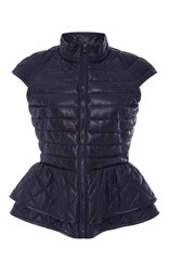 Elizabeth Roberts Isabel Neville Quilted Leather Vest Blue