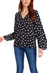 Wallis Women's Dot Print Bell Sleeve Top