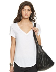 Polo Ralph Lauren Draped V Neck Tee White