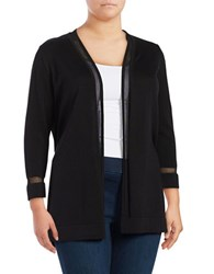 Vince Camuto Plus Sheer Strip Open Front Cardigan Black
