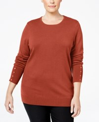 Jm Collection Plus Size Button Sleeve Sweater Only At Macy's Rusty Red