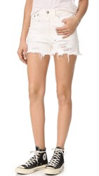R 13 R13 Shredded Slouch Shorts Warren White