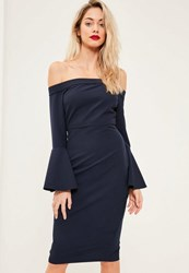 Missguided Navy Bardot Frill Sleeve Midi Dress