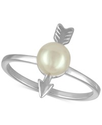 Majorica Sterling Silver Imitation Pearl Arrow Statement Ring