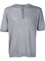 Eleventy Short Sleeve Henley Jumper Grey