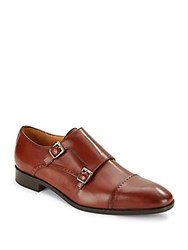 Saks Fifth Avenue Leather Double Monk Strap Loafers Tan