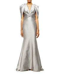 Pamella Roland Draped Shoulder V Neck Mermaid Gown Silver