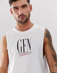 Good For Nothing Cut Away Tank In White With Large Logo
