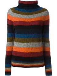 Bark Striped Roll Neck Sweater Multicolour