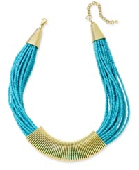 Macy's Gold Tone Chunky Seed Bead Coil Collar Necklace Turquoise