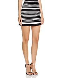 Aqua Variegated Stripe Mini Skirt Ivory Black
