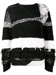 Ann Demeulemeester Distressed Stripe Sweater Black