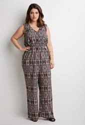Forever 21 Tribal Print Jumpsuit Black White