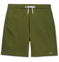 A.P.C. Loopback Cotton Jersey Sweat Shorts Green