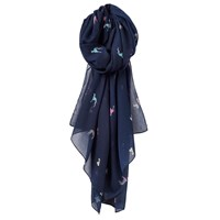 Joules Wensley Dog Print Scarf Navy