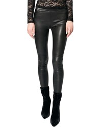 Lamarque Kelly Leather Skinny Ankle Pants Black