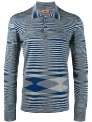 Missoni Striped Long Sleeved Polo Shirt Men Cotton 48 Blue