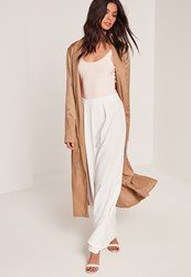 Missguided Tall Satin Two Tone Bomber Duster Coat Camel