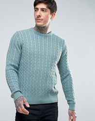Farah Lewes Crew Jumper Cable Knit Slim Fit In Teal Marl Palm Marl Green