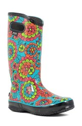 Bogs Women's Pansies Waterproof Rain Boot Black Multi