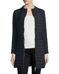 Moncler Aubritch Lightweight Quilted Long Puffer Coat Women's Navy