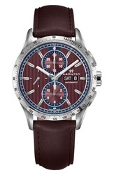 Hamilton Broadway Automatic Chronograph Leather Strap Watch 43Mm Aubergine Red Silver