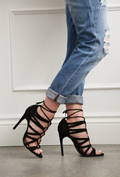 Forever 21 Faux Suede Lace Up Pumps Black