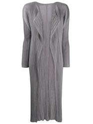 Issey Miyake Pleats Please By Lungo Con Tasche Coat Grey