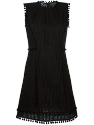 Love Moschino Perforated Panel Flared Dress Black