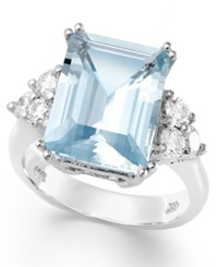 Macy's 14K White Gold Ring Aquamarine 5 1 2 Ct. T.W. And Diamond 1 2 Ct. T.W. Emerald Cut Ring