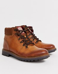 Base London Fawn Lace Up Hiker Boots In Brown