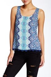 Gypsy05 Printed Lace Up Back Tank Blue