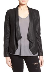 Bb Dakota Women's 'Wyden' Drape Front Leather Jacket Black