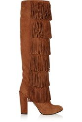 Paul Andrew Tara Fringed Suede Knee Boots Tan