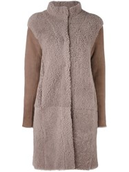 Steffen Schraut High Neck Coat Brown