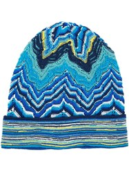 Missoni Knitted Beanie Hat Blue