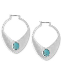 Lucky Brand Silver Tone Blue Stone Open Drop Earrings