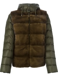 P.A.R.O.S.H. Mink Fur Panel Padded Jacket Green